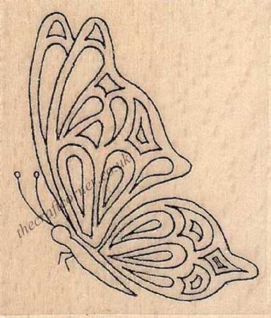 Butterfly In Flight Wood Mounted Rubber Stamp by Creative Expressions
